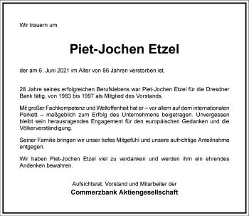 Traueranzeige von Piet-Jochen Etzel von Frankfurter Allgemeine Zeitung