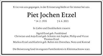 Traueranzeige von Piet Jochen Etzel von Frankfurter Allgemeine Zeitung