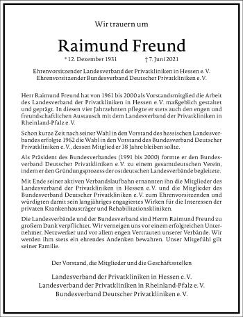 Traueranzeige von Raimund Freund von Frankfurter Allgemeine Zeitung