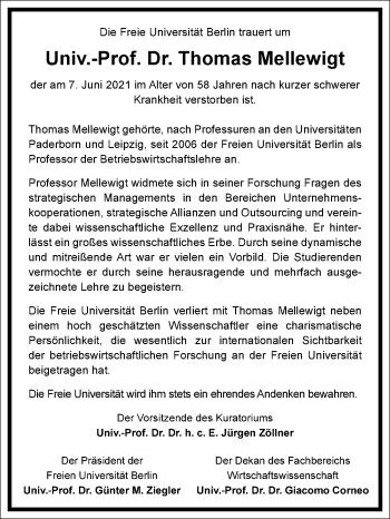 Traueranzeige von Thomas Mellewigt von Frankfurter Allgemeine Zeitung