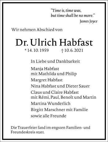 Traueranzeige von Ulrich Habfast von Frankfurter Allgemeine Zeitung