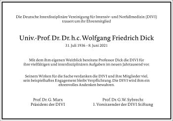 Traueranzeige von Wolfgang Friedrich Dick von Frankfurter Allgemeine Zeitung