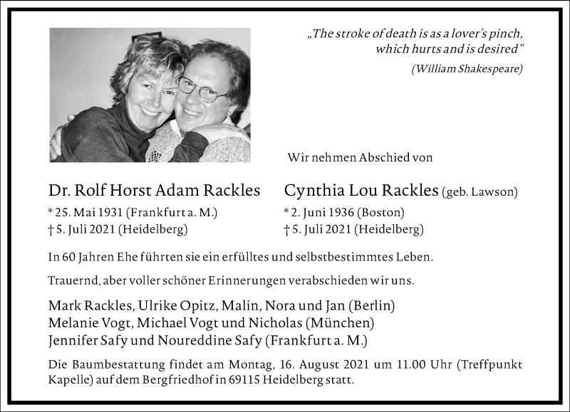 Traueranzeige für Cynthia Lou Rackles vom 17.07.2021 aus Frankfurter Allgemeine Zeitung
