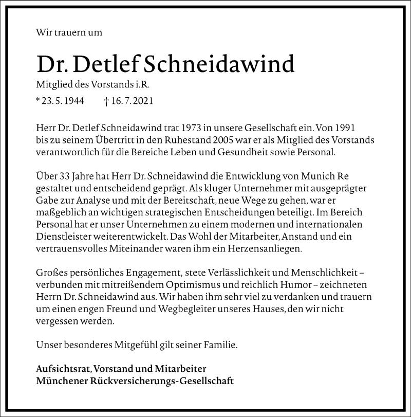 Traueranzeige für Detlef Schneidawind vom 21.07.2021 aus Frankfurter Allgemeine Zeitung