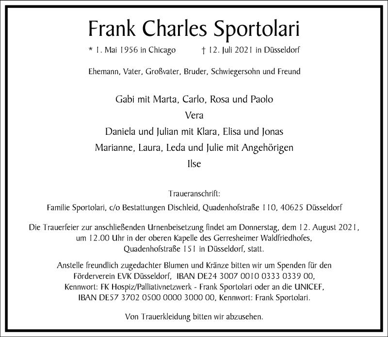 Traueranzeige für Frank Charles Sportolari vom 17.07.2021 aus Frankfurter Allgemeine Zeitung