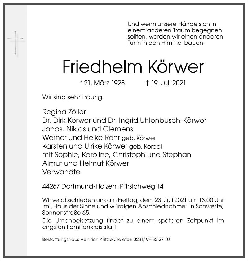 Traueranzeige für Friedhelm Körwer vom 22.07.2021 aus Frankfurter Allgemeine Zeitung