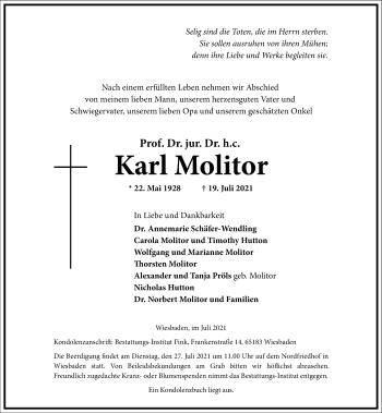 Traueranzeige von Karl Molitor von Frankfurter Allgemeine Zeitung