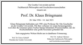 Traueranzeige von Klaus Bringmann von Frankfurter Allgemeine Zeitung