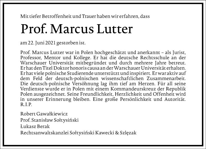 Traueranzeige für Marcus Lutter vom 13.07.2021 aus Frankfurter Allgemeine Zeitung