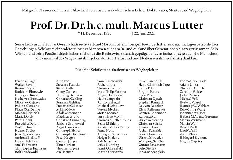 Traueranzeige für Marcus Lutter vom 10.07.2021 aus Frankfurter Allgemeine Zeitung