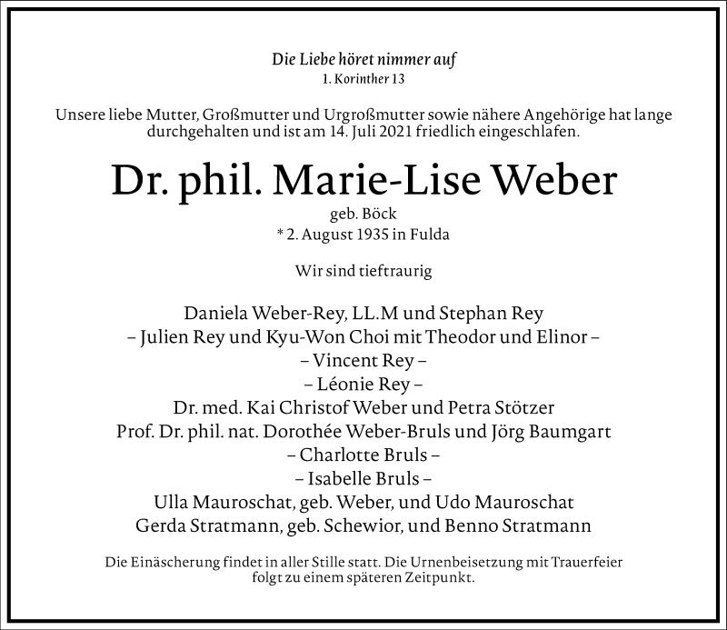 Traueranzeige für Marie-Lise Weber vom 17.07.2021 aus Frankfurter Allgemeine Zeitung