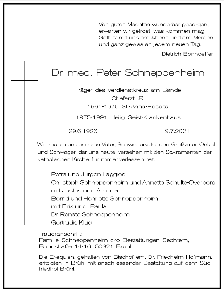 Traueranzeige für Peter Schneppenheim vom 24.07.2021 aus Frankfurter Allgemeine Zeitung