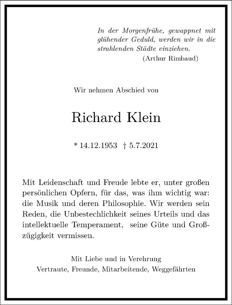 Traueranzeige für Richard Klein vom 17.07.2021 aus Frankfurter Allgemeine Zeitung