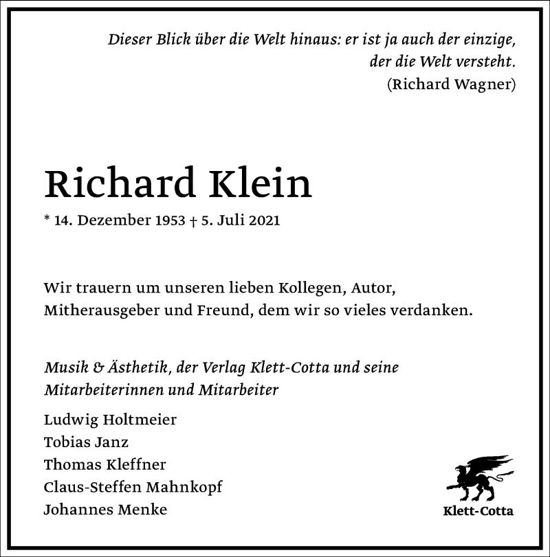 Traueranzeige für Richard Klein vom 15.07.2021 aus Frankfurter Allgemeine Zeitung