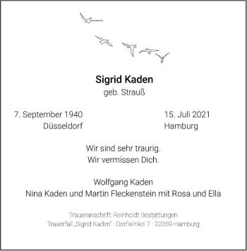 Traueranzeige von Sigrid Kaden von Frankfurter Allgemeine Zeitung