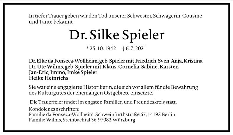 Traueranzeige für Silke Spieler vom 17.07.2021 aus Frankfurter Allgemeine Zeitung