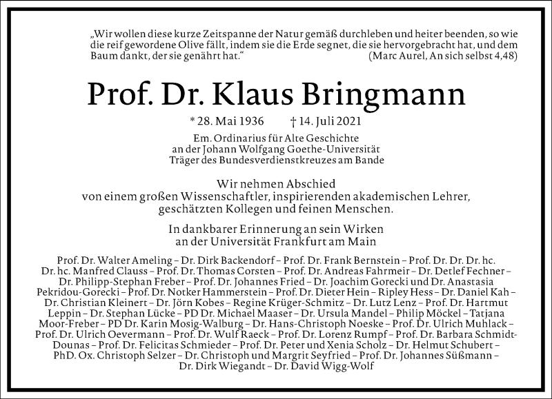 Traueranzeige für Klaus Bringmann vom 07.08.2021 aus Frankfurter Allgemeine Zeitung