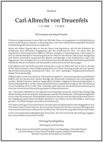 Traueranzeige von Carl-Albrecht von Treuenfels von Frankfurter Allgemeine Zeitung