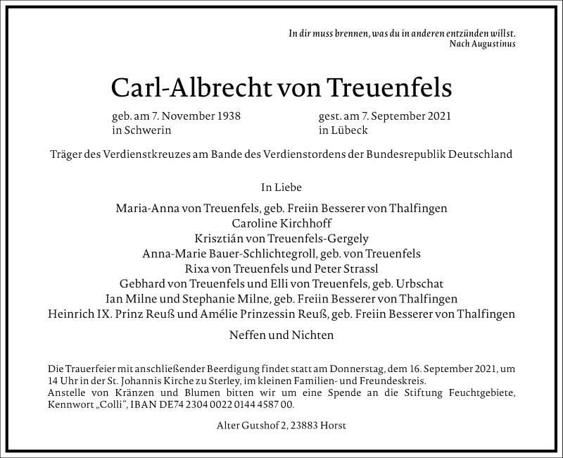 Traueranzeige für Carl-Albrecht von Treuenfels vom 11.09.2021 aus Frankfurter Allgemeine Zeitung