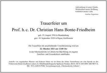 Traueranzeige von Christian Hans Bonte-Friedheim von Frankfurter Allgemeine Zeitung