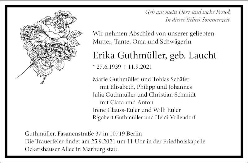 Traueranzeige für Erika Guthmüller vom 18.09.2021 aus Frankfurter Allgemeine Zeitung