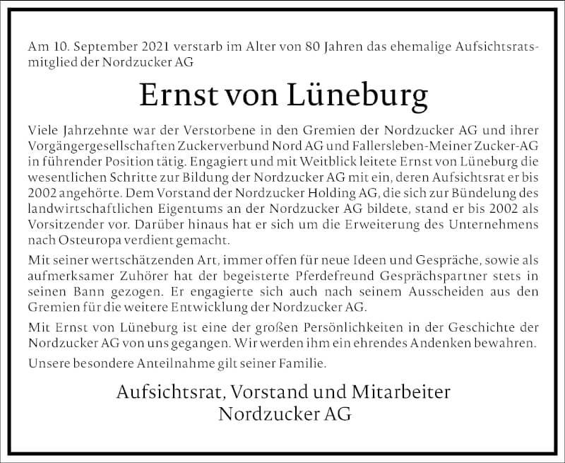 Traueranzeige für Ernst von Lüneburg vom 18.09.2021 aus Frankfurter Allgemeine Zeitung