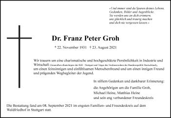 Traueranzeige von Franz Peter Groh von Frankfurter Allgemeine Zeitung