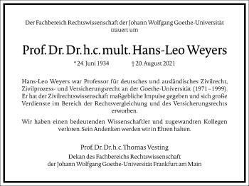 Traueranzeige von Hans-Leo Weyers von Frankfurter Allgemeine Zeitung