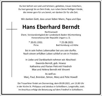 Traueranzeige von Hans Eberhard Berndt von Frankfurter Allgemeine Zeitung