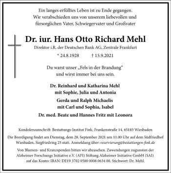 Traueranzeige von Hans Otto Richard Mehl von Frankfurter Allgemeine Zeitung
