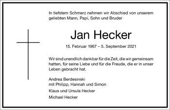 Traueranzeige von Jan Hecker von Frankfurter Allgemeine Zeitung