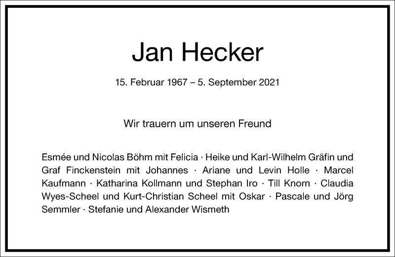 Traueranzeige für Jan Hecker vom 14.09.2021 aus Frankfurter Allgemeine Zeitung