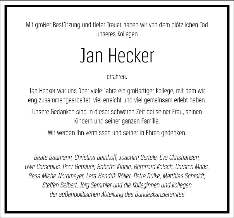 Traueranzeige für Jan Hecker vom 11.09.2021 aus Frankfurter Allgemeine Zeitung