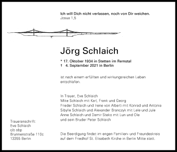 Traueranzeige von Jörg Schlaich von Frankfurter Allgemeine Zeitung