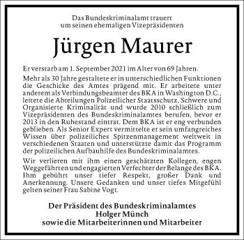 Traueranzeige von Jürgen Maurer von Frankfurter Allgemeine Zeitung
