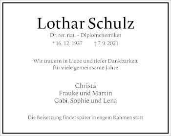 Traueranzeige von Lothar Schulz von Frankfurter Allgemeine Zeitung