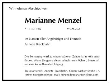 Traueranzeige von Marianne Menzel von Frankfurter Allgemeine Zeitung