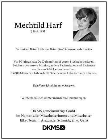 Traueranzeige von Mechtild Harf von Frankfurter Allgemeine Zeitung