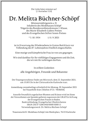 Traueranzeige von Melitta Büchner-Schöpf von Frankfurter Allgemeine Zeitung