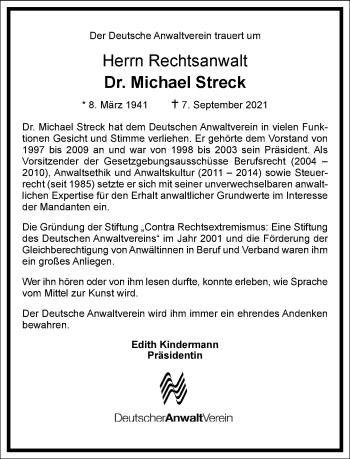 Traueranzeige von Michael Streck von Frankfurter Allgemeine Zeitung