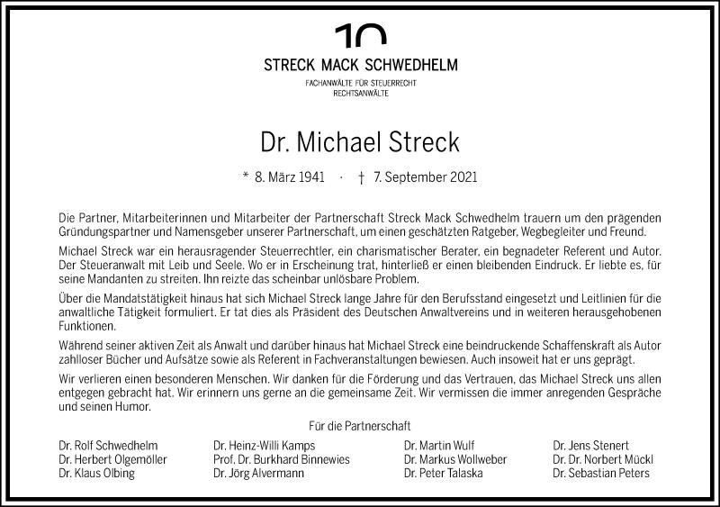 Traueranzeige für Michael Streck vom 11.09.2021 aus Frankfurter Allgemeine Zeitung