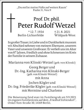 Traueranzeige von Peter Rudolf Wetzel von Frankfurter Allgemeine Zeitung
