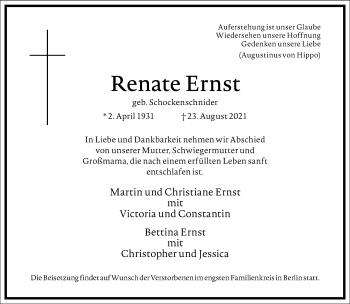 Traueranzeige von Renate Ernst von Frankfurter Allgemeine Zeitung