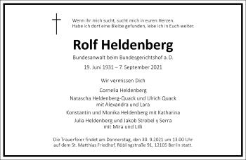 Traueranzeige von Rolf Heldenberg von Frankfurter Allgemeine Zeitung