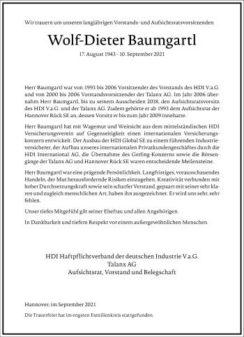 Traueranzeige von Wolf-Dieter Baumgartl von Frankfurter Allgemeine Zeitung